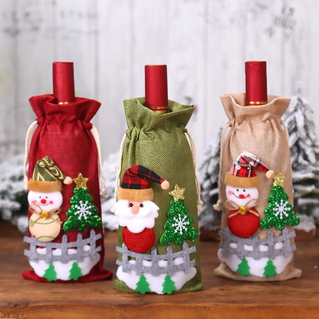 FENGRISE Santa Claus Wine Bottle Cover Christmas Decorations For Home 2019 Christmas Stocking Gift Navidad New Year's Decor 2020 4