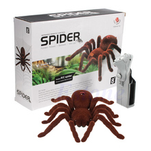 Kid Gift Remote Control Scary Creepy Soft Plush Spider Infrared RC Tarantula Toy 634F rc scolopendra infrared remote control centipede toy