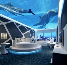 Blue fantasy underwater world dolphin ceiling decoration background wallpaper 3d