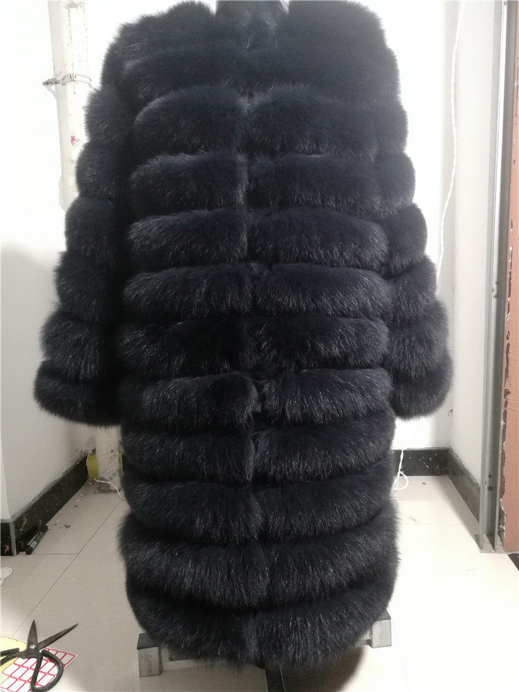100% Natural Real Fox Fur Coat Women Winter Genuine Vest Waistcoat Thick Warm Long Jacket With Sleeve Outwear Overcoat plus size 87
