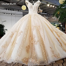 LS37410 2018 new design luxury champagne color and pink decorate v neck open key hole back crystal long train wedding dress(China)