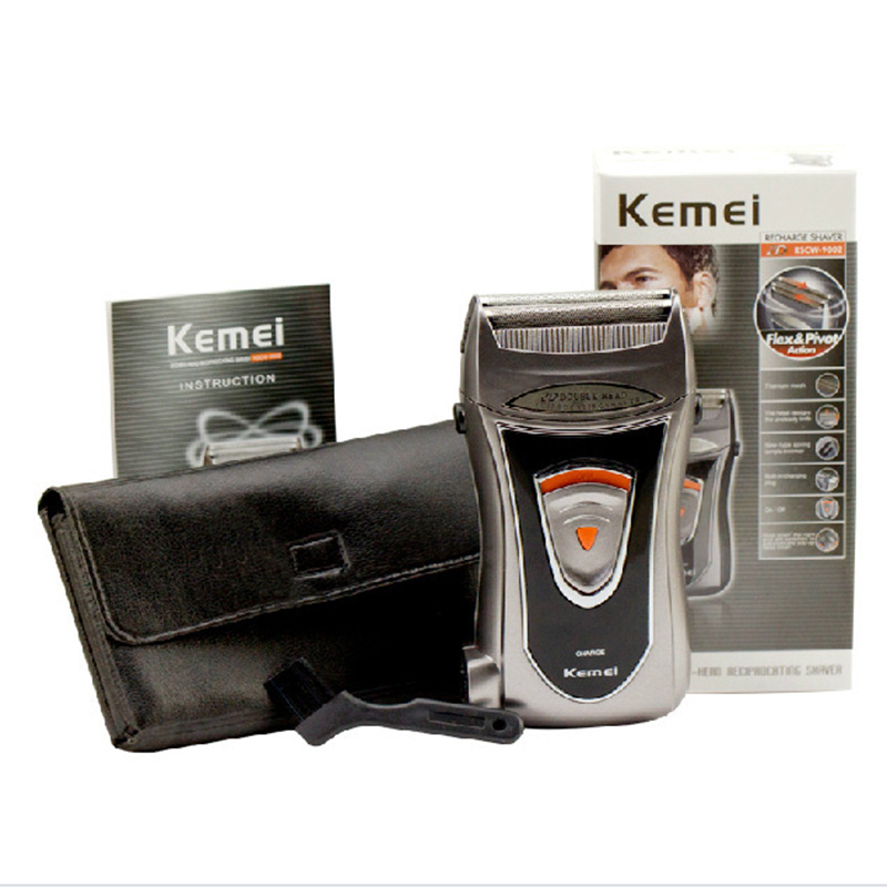 Kemei Built-in Charger Barber Electric Shaver for Men Two Mesh Portable Reciprocating Beard Razor Multifunction Strong Trimmer
