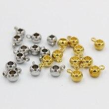 20 pçs 3 4 5 mm grânulos de espaçador de aço inoxidável ouro solto grânulos buraco grande posicionamento contas diy charme pulseiras jóias fazendo
