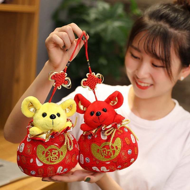 2020 Year Mouse Year Kawaii China Lucky Bag Rat Plush Mouse In Tang Suit Soft Toys Chinese New Year Party Decoration Gift