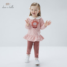 DBZ16451 dave bella spring baby girls cute floral dots draped clothing sets kids fashion long sleeve sets children 2 pcs suit