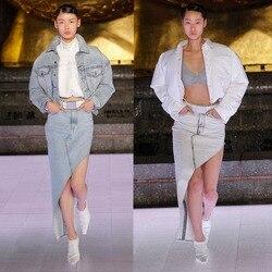 Женская Асимметричная джинсовая юбка с диагональным углом наклона, весна-лето 2020