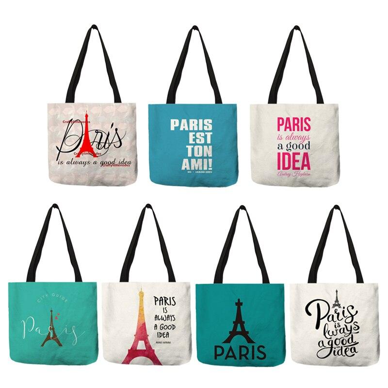 Simple Letter Style Tote Bag For Ladies Paris Solid Printed Shoulder Bag Eco Linen Women Reusable Office Travel Handbags