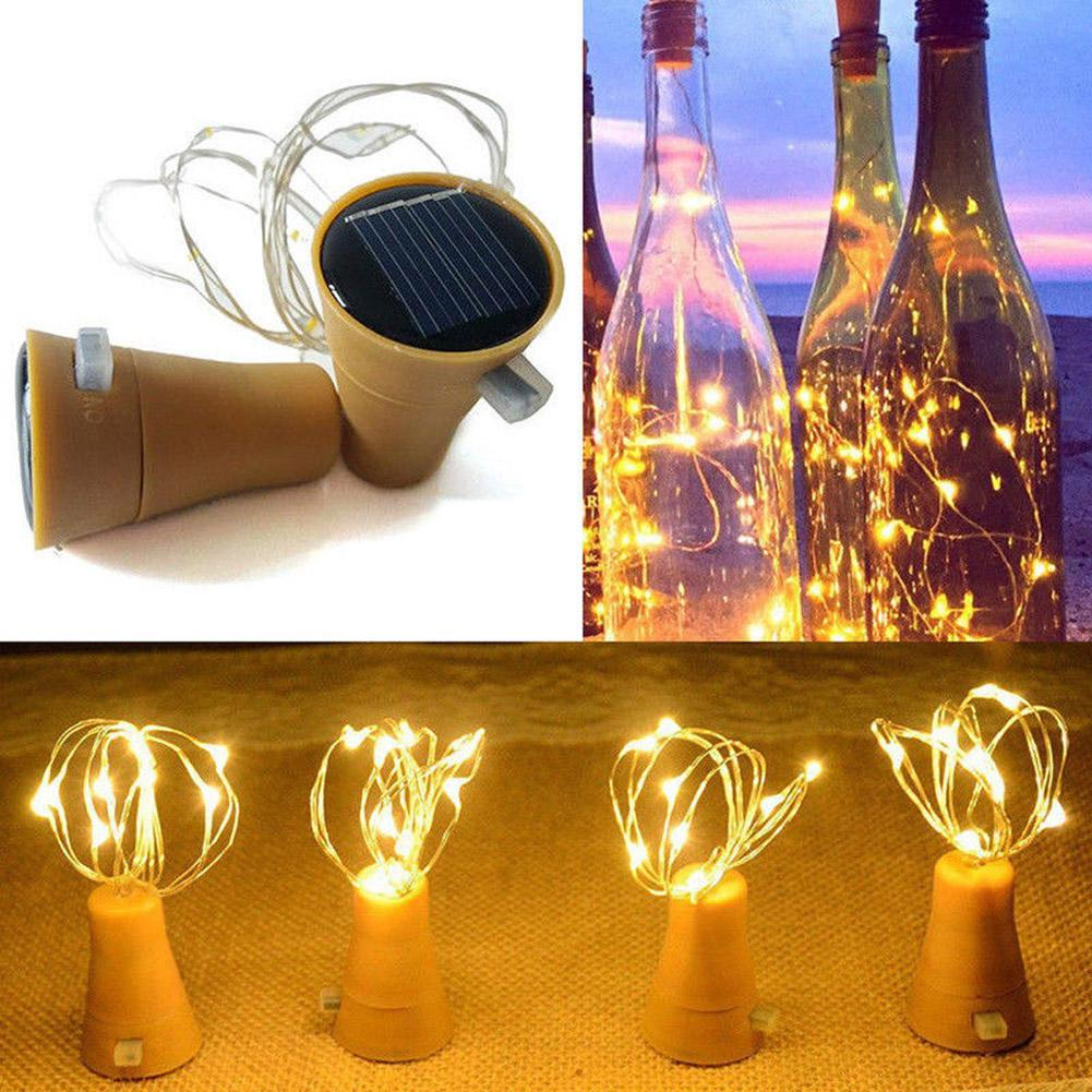 1M/2M Solar Powered Wine Bottle Cork Shaped LED Copper Wire String Outdoor Light Garland Lights Festival Outdoor Fairy Light