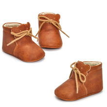 Newborn Baby Boy Girl Crib Shoes Toddler Soft Sole Leather Sneakers Kids Infant Solid Khaki Prewalker Warm Ankle Boots