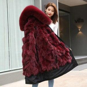 Real Fox Fur Women's Winter Parka Middle Detachable Fox Inner Big Fur Collar Fur Coat Drop shipping