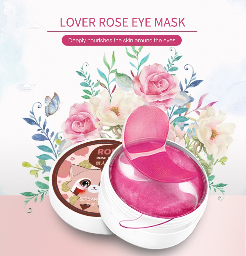 60pcs Rose Eye Mask Fades Fine Lines Eliminate Puffiness Patches Moisturize Eye Mask Remove Stye Crystal Collagen Gel Mask-0