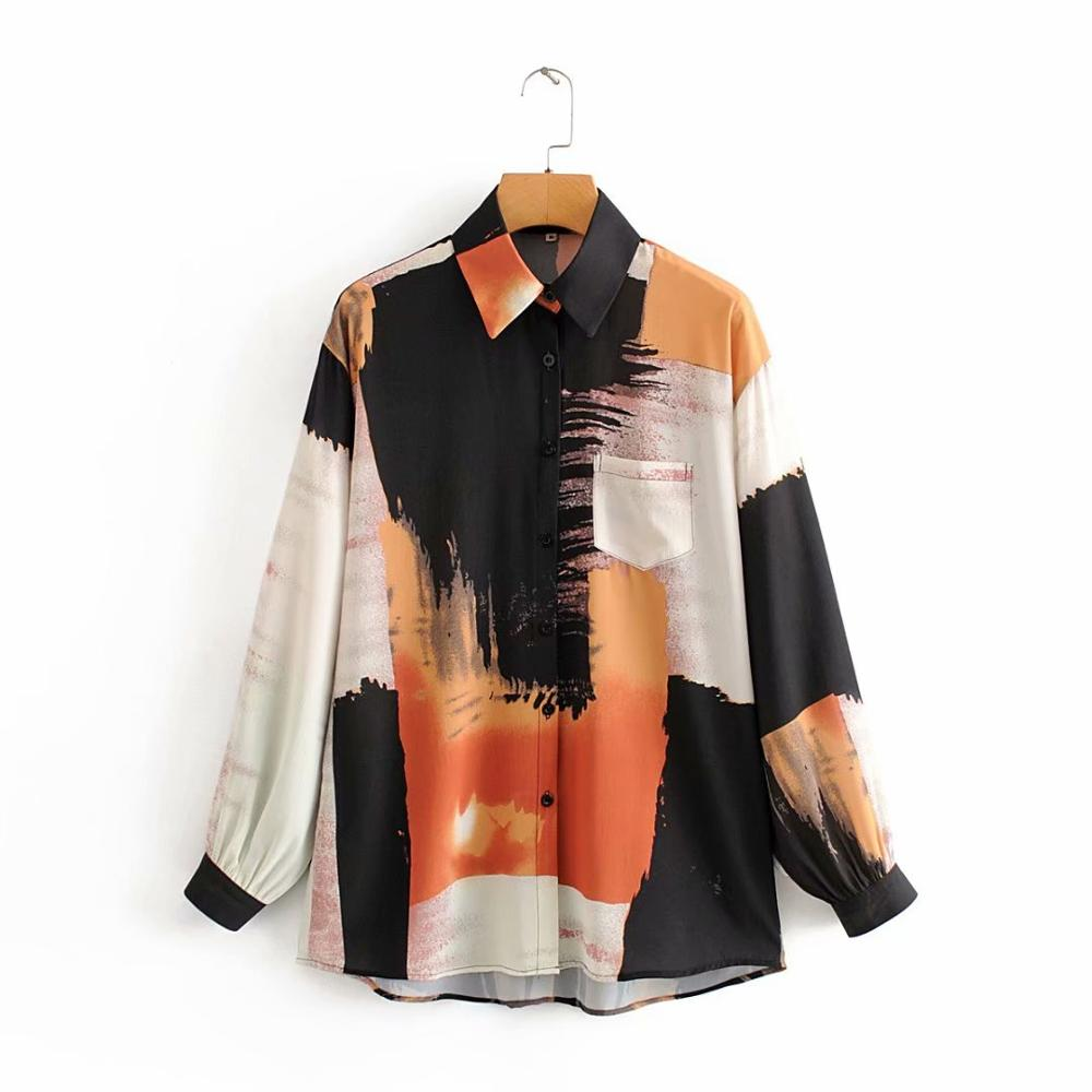 New 2020 Women Fashion Color Matching Sunset Scenery Print Casual Blouse Office Lady Long Sleeve Shirts Chic Chemise Tops LS6296