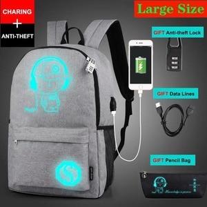 Image 5 - Mochila antirrobo para niños y niñas, morral escolar luminoso con puerto de carga USB