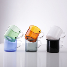 400ml Simple Glass Minimalism Coffee Cup With Handle Water Cafe Transparent Milk Mug Teacup Juice Court Feel Drinkware