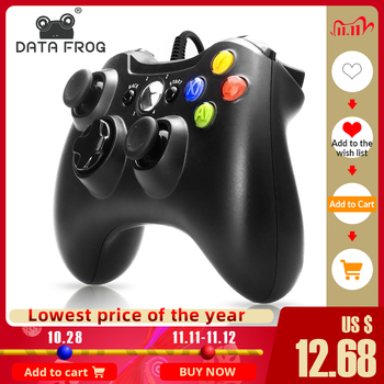 DATA FROG USB Wired Gamepad Joystick for Xbox 360 /Slim PC Controller For Windows 7/8/10 Microsoft With Vibration for Steam Game