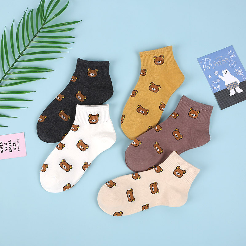5pairs/lot Fashion Cute Cartoon Women Combed Cotton Socks Kawaii Korean College Style Lovely Animal Bear Casual Short Funny Sock