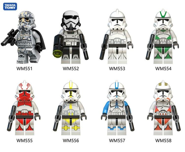 Star Wars Construction Blocks Toys 8pcs New Wm6036 Star Wars Minion Stormwind Clone Soldier Quick Selling Popular  Block