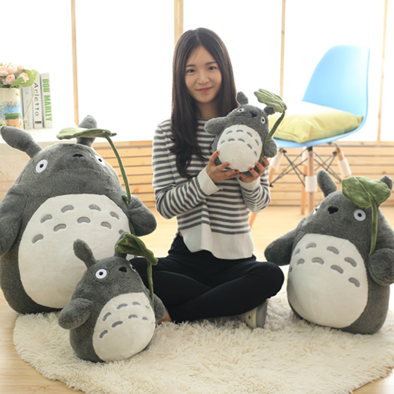 Big Size Totoro Plush Doll Lotus Leaf And Tooth Stuffed Toys Soft Kawaii Cartoon Animal Character Peluche Doll For Kids Gifts