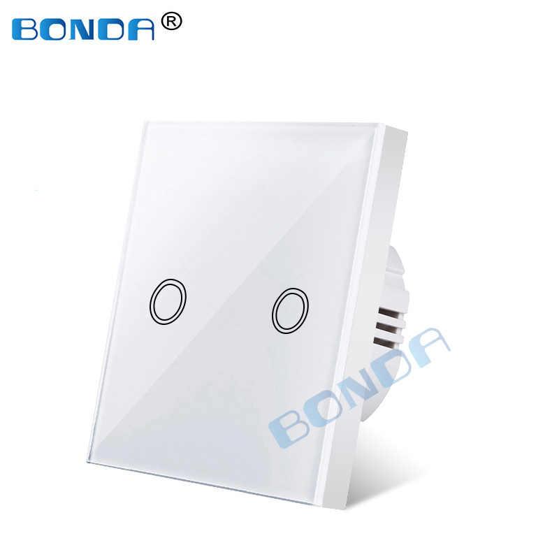 Wand schalter, EU standard, weiß kristall, gehärtetem glas-panel, touch schalter, Ac220v, 1 set, 1 weg, wand licht, wand touch screen