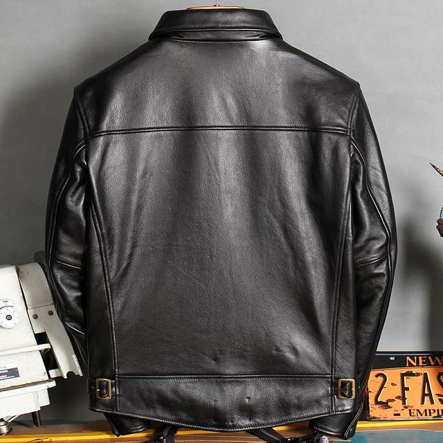 Freies shipping.2020 Neue ankunft leder mantel, casual Qualität aus echtem leder Jacke, herren schwarz Rindsleder kleidung. großhandel