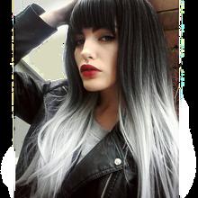 Peruka z długich prostych włosów z grzywką różowe włosy syntetyczne szare peruki dla kobiet wysokiej temperatury włókna klub peruka Cosplay