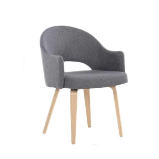 Nordic solid wood dining chair fabric home armrest back chair <font><b>cafe</b></font> dining <font><b>table</b></font> and chair simple study chair image