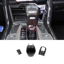 רכב סטיילינג פחמן סיבי מודפס GEAR SHIFT KNOB TRIM מכסה עבור הונדה סיוויק 2017 2019 2020 אביזרים