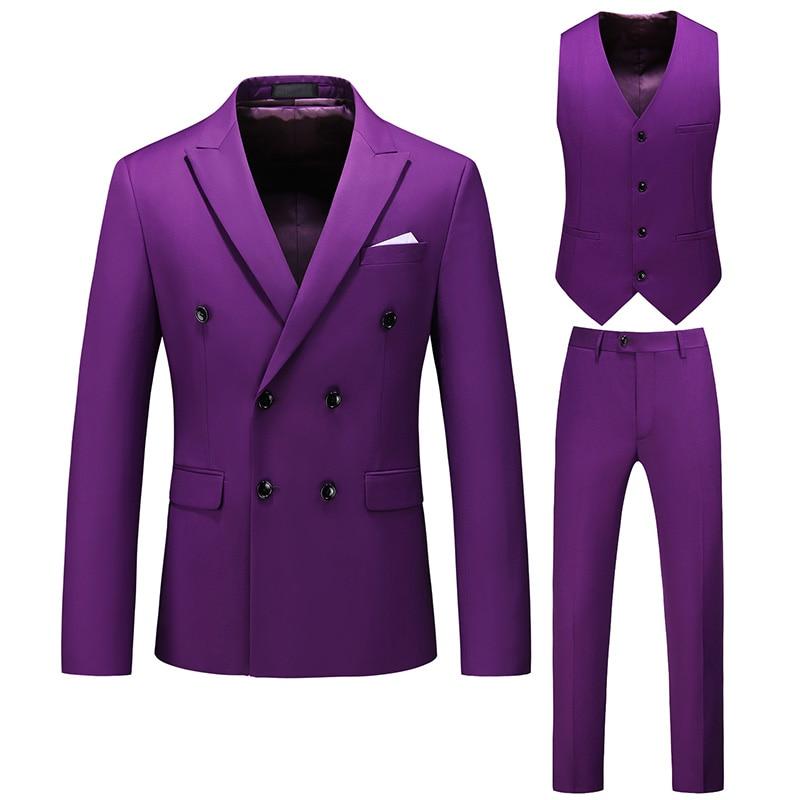 Double-breasted British Style Slim Men's Suit Suit (jacket And Pants Vest) Business Fashion Men Blazer Plus Size Casual Suits