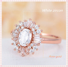 Silver 925 ring gold Emerald diamond Opal Ring Engagement Marriage Rose Gold Crystal Rings Indian jewelry emeraldB2303