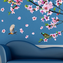 [Dreamarts] Peach Blossom Tree Branch Wall Stickers Vinyl DIY Flowers Birds Decor for Living Room Wedding Decoration