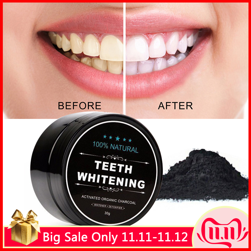 Tooth Whitening Powder Natural Activated Coconut Charcoal Tartar Stain Removal Oral Hygiene Professional Effects Tooth Bleaching