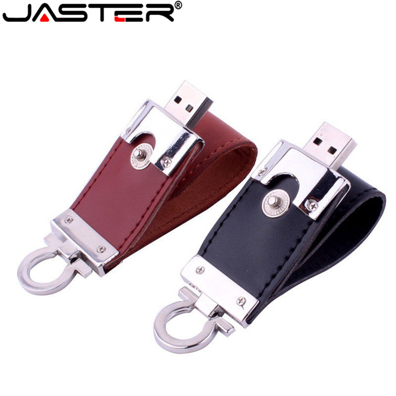 JASTER Real Capacity Leather USB Flash Drive 4GB 8GB 16GB 32GB 64GB Keychain Pendrive USB 2.0 Flash Memory Stick Pen Drive