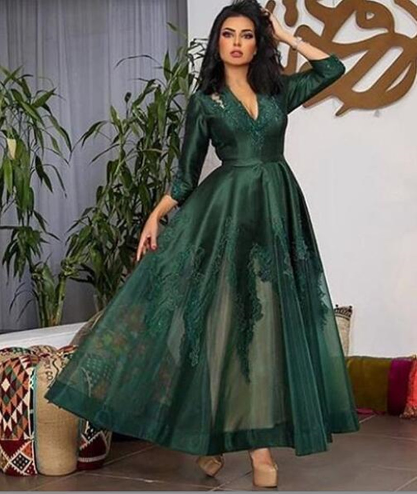 2020 Arabic Emerald Green Lace Evening Dresses Full Sleeves Appliques Ankle Length Elegant Prom Gowns Party Dress