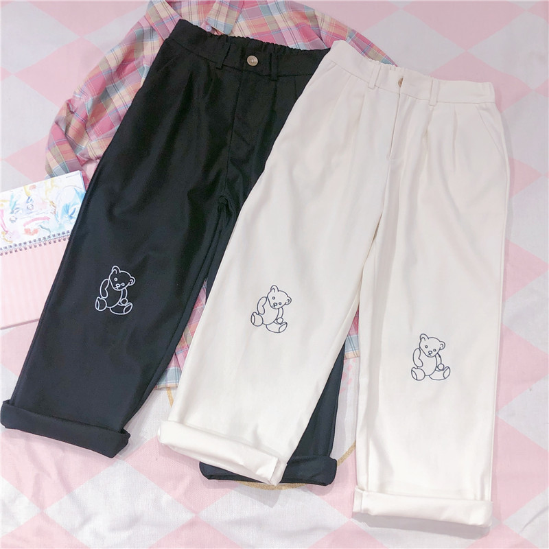 Women Harajuku Korean Teen Girls Loose Thin Bear Embroidery Pants Wild Casual Female Cute Japanese Kawaii Small Fresh Pants