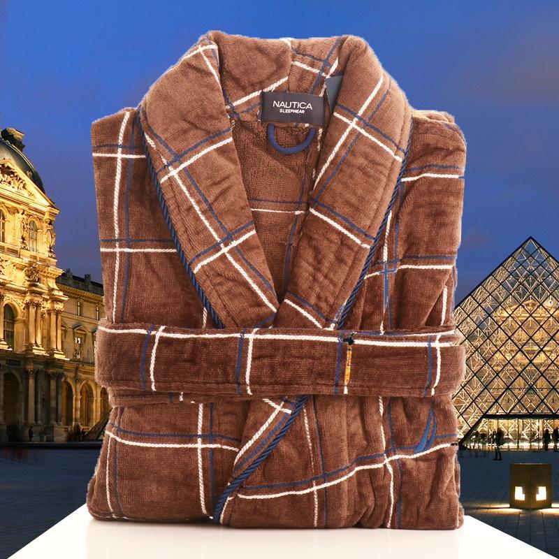 Men's Robe Winter Cotton Thick Warm Long Bathrobe Soft Towel Fleece Kimono Bath Robe Dressing Gown Bridesmaid Robes