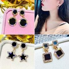Luxury Rhinestone Geometric Drop Earrings For Women Girls Korea Simple Style Alloy Dangle Earring Party Jewelry Gifts 2019