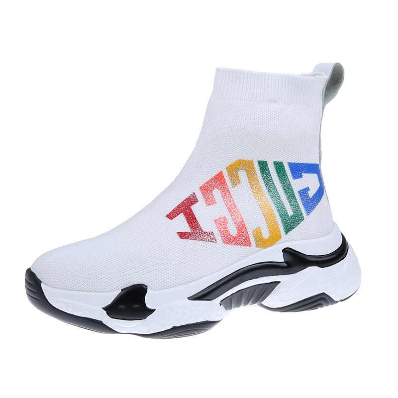 Alta-top calzini respirabili delle donne 2019 autunno e inverno nuovo casuale stivali da donna di spessore fondo morbido elastico scarpe da ginnastica