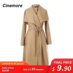 Cinemore 2020 Новое поступление осенний женский плащ Топ цвета хаки Верхняя одежда тонкая одежда с поясом длинное шерстяное пальто 860103