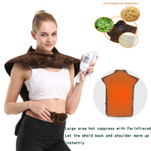 Electric Infrared Moxibustion Shawl warm Heating Blanket  Back Neck Health Care Cervical Shoulder Heating Pad 3 Temperature with thrust belt electric heating care hot moxibustion heat warm house warm lumbar