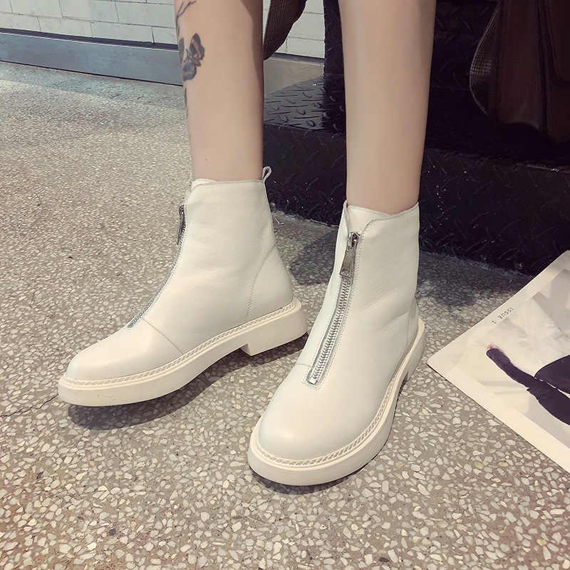 Кожаные ботинки с молнией спереди; новые женские ботинки с хлопковой подкладкой; сезон осень-зима; коллекция 2018 года; зимние ботинки; женские ботинки