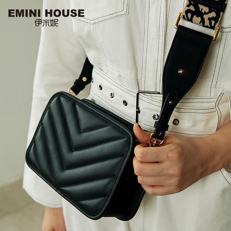 EMINI HOUSE Totem bandoleras de correa ancha para mujer bolso de hombro de cuero genuino bolsos de lujo Bolsos De Mujer de diseñador-in Cubos from Maletas y bolsas    1