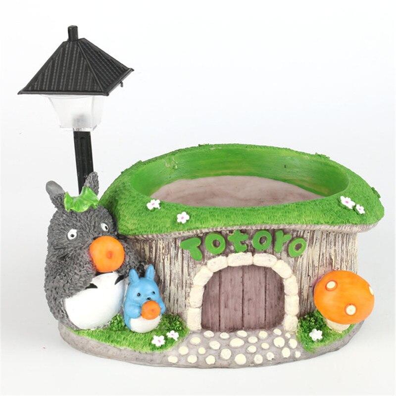 Купить с кэшбэком Cartoon Totoro Flower Pot Garden Decor Resin Creative Crafts Planters Home Office Bonsai Succulent Plant Pot & Bicolor LED Light