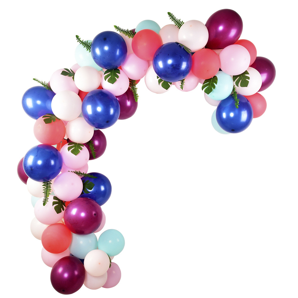 104 Pcs Balloons Garland Arch Kit Coloful Balloons With Artificial Leaves For Diy Wedding Parties Events Background Decoration