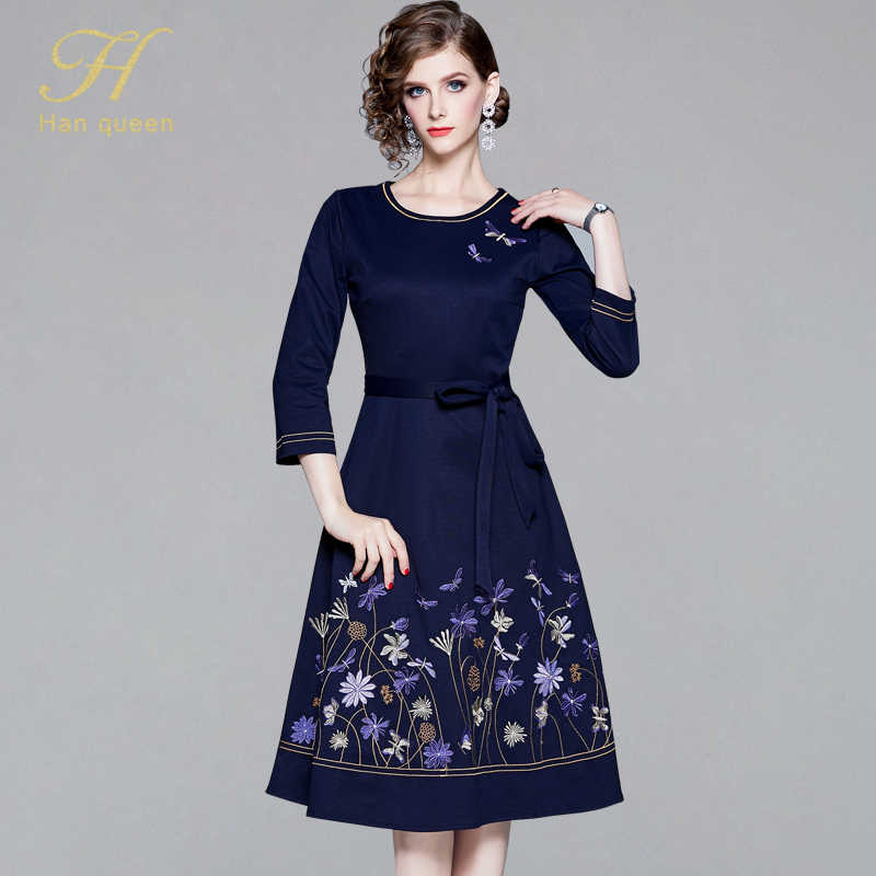 H Han Queen 2019 O-neck Embroidered Dress Women Elegant Office Ladies Vintage Dresses Work Casual Female Autumn Midi Party Dress