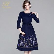H Han Queen 2019 O Neckชุดปักผู้หญิงสุภาพสตรีElegant Vintageชุดเดรสทำงานฤดูใบไม้ร่วงหญิงสบายๆMidi Party Dress