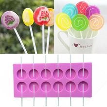 Круглая силиконовая форма для леденцов форма для изготовления конфет DIY с палочками 12 емкости