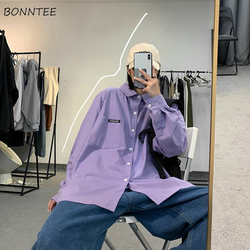 Women Shirts Solid Pocket Loose Casual Chic Fashion All-match Simple Button Students Streetwear Korean Style Ulzzang Womens New