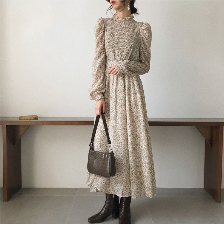 H03ef168b0cac4c4fb52a480605c42f20N - Autumn Stand Collar Long Sleeves Waist-Controlled Floral Print Maxi Dress