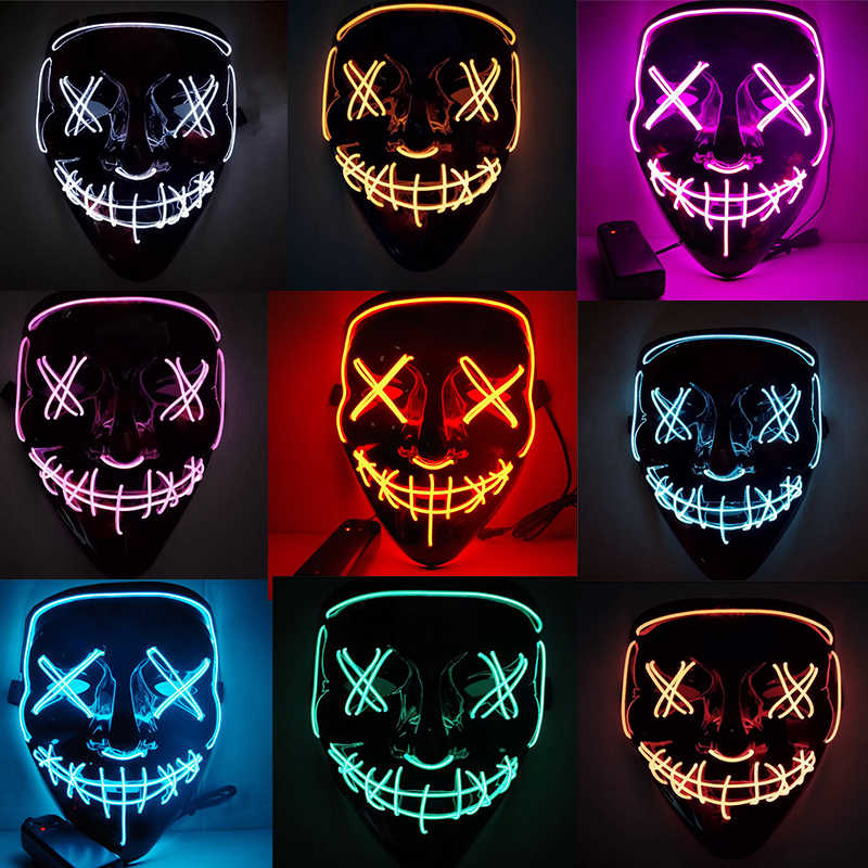 Halloween Mask LED Halloween Costume LED Glow Scary Light Up Masks for Festival Party Carnival Costume Christmas Cosplay Glow in Dark Gift Red