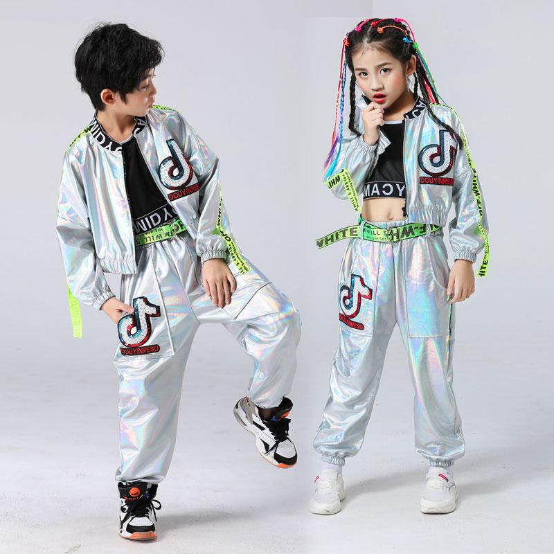 2021 enfants Performance vêtements garçons Hip-hop ensemble fille couleur argent Jazz danse Costume passerelle danse Costume Cool Rave tenues